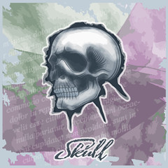 Poster Crâne aquarelle Skull drawn in watercolor style, on vintage background.