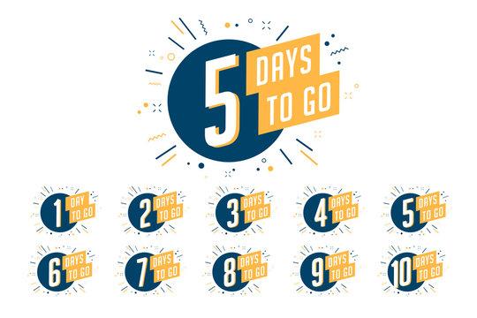 Number of days left to go, badges or sticker design.
