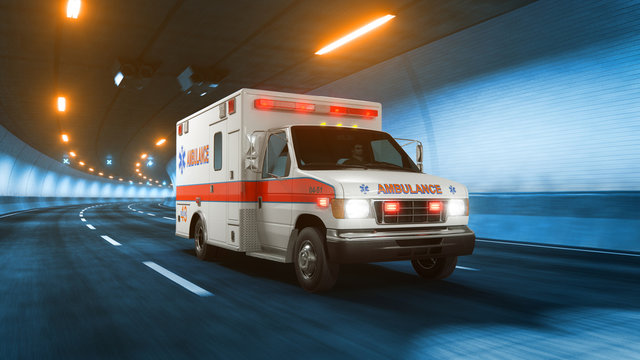 Ambulance car rides through tunnel warm yellow light 3d rendering