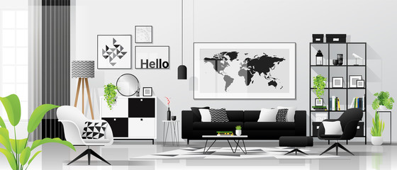 Interior background with living room in modern black and white scandinavian style , vector , illustration