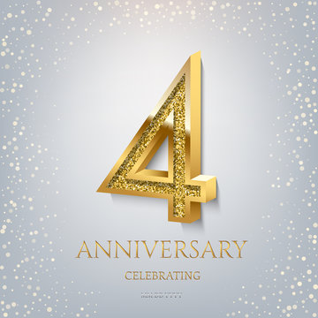 4th Anniversary Celebrating golden text and confetti on light blue background. Vector celebration 4 anniversary event template.