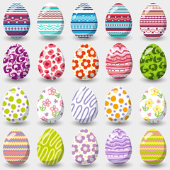 Set of easter eggs isolated on white background.