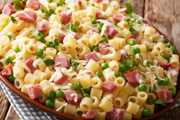 Traditional Italian pasta Ditalini with green peas, ham and cheese closeup on a plate. horizontal