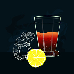 Tea with ice and lemon.