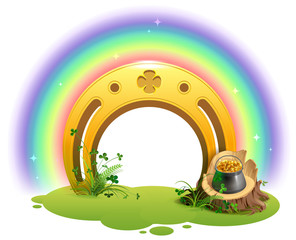 Golden horseshoe, rainbow and pot of gold symbol of St. Patrick Day