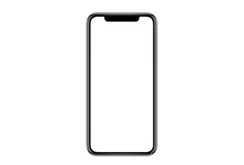 Smartphone similar to iphone xs max with blank white screen for Infographic Global Business...