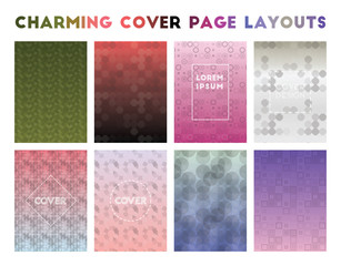Charming Cover Page Layouts. Admirable geometric patterns. Awesome background. Vector illustration.