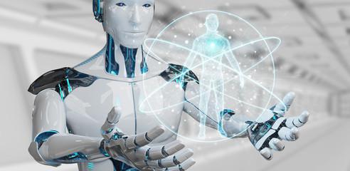 White man robot scanning human body 3D rendering