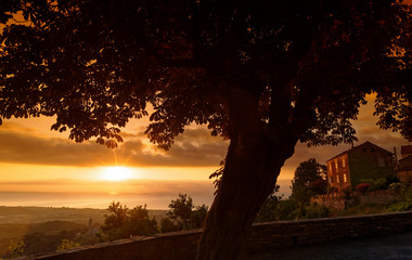 Castagniccia cornice in eastern coast of Corsica