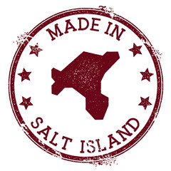 Made in Salt Island stamp. Grunge rubber stamp with Made in Salt Island text and island map. Delicate vector illustration.