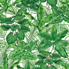 Watercolor painting coconut,banana,palm leaf,green leaves seamless pattern background.Watercolor hand drawn illustration tropical exotic leaf prints for wallpaper,textile Hawaii aloha jungle style..