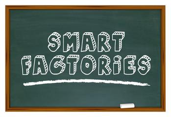 Smart Factories Industry 4.0 Automation Chalkboard Words 3d Illustration