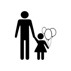 father and daughter illustration. Outline vector
