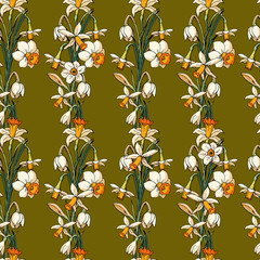 Vector seamless pattern with narcissus on green background