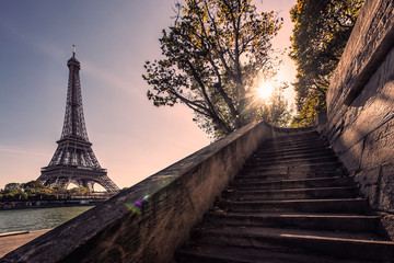 Wall Mural - Eiffel tower viewed from the dock of Seine river in Paris