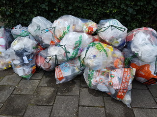 Bags with waste of plasic to be collected by the municipality of Zuidplas