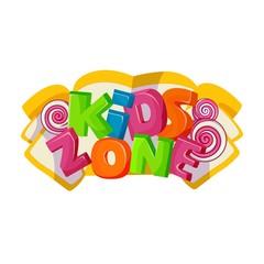 Children playground area, kids zone logo on white