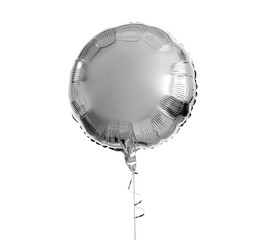 holidays, birthday party and decoration concept - one metallic silver inflated helium balloon over white background