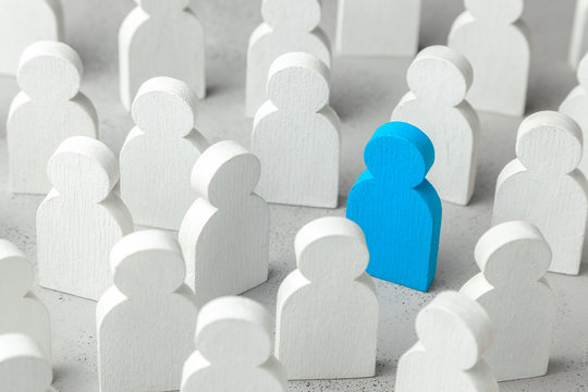 How to choose a leader from the crowd of staff. Lot of people and one special employee. Staff recruitment
