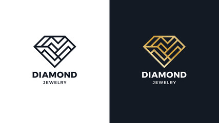 Diamond Logotype template, positive and negative variant, corporate identity for brands, exclusive product logo