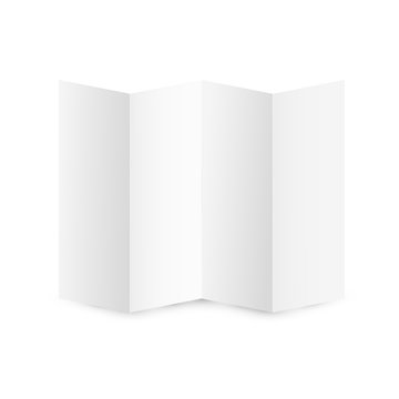 blank folded A4 paper template. Horizontal empty sheet of paper mockup isolated on white background with soft shadow. Leaflet or flyer bent four times.