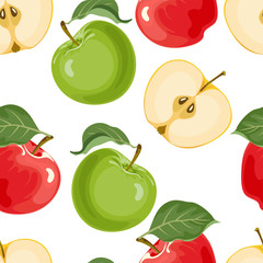 Seamless pattern with green and red apples and leaves on a white background. Vector illustration of ripe fruit whole and sliced in cartoon flat style.
