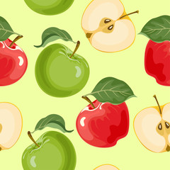 Apples seamless pattern on light green background. Vector illustration of ripe fruit whole and sliced in cartoon flat style.