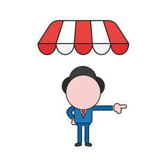 Vector businessman character under shop store awning and pointing. Color and black outlines.