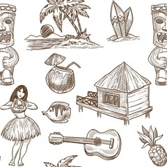 Hawaii travel sketch pattern background. Vector seamless tropical exotic design of Hawaiian symbols
