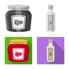 Vector illustration of can and food logo. Collection of can and package stock symbol for web.
