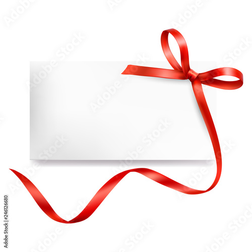 Greeting Card With Red Ribbon Template For Your Design