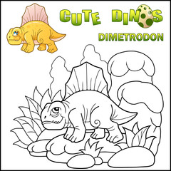 cute cartoon prehistoric dinosaur dimetrodon, coloring book, funny illustration
