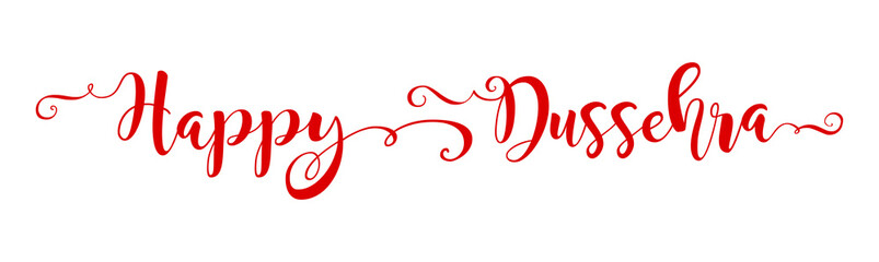 Creative text Happy Dussehra with brush calligraphy vector banner red colour. The inscription can be used web poster, card, flyer design for celebration Indian festival. Isolated vector illustration