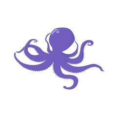 Purple octopus silhouette isolated. Soft-bodied mollusk. Sea and ocean theme.