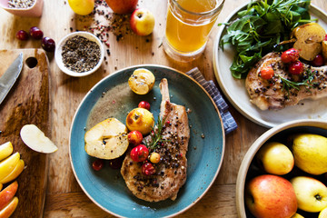 Pork chop with apples food photography recipe idea