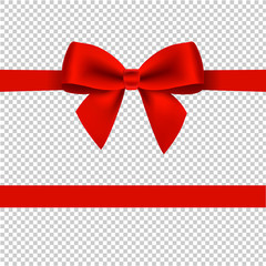 Red Bow Isolated Transparent background