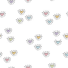 Seamless pattern with hand drawn  hearts for textiles, wallpapers, gift wraps and scrapbook. Background for Valentine's Day, birthday, Mother's Day. Vector.