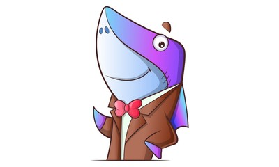 Fototapeta Vector cartoon illustration of cute shark wearing coat and tie. Isolated on white background.