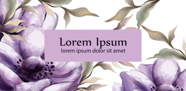 Purple flowers watercolor background Vector. Spring trendy painted decors