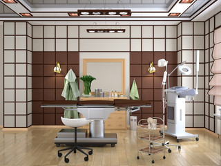 Cozy room with equipment in the clinic of dermatology and cosmetology in the Chinese style. 3d illustration