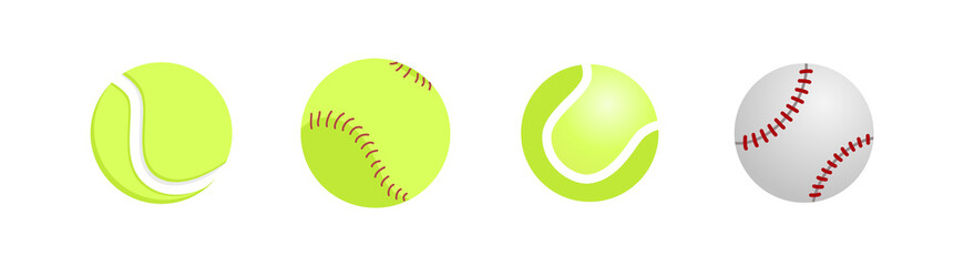 Realistic tennis and baseball ball close up isolated on white background. Tennis gear for the game. Vector illustration.