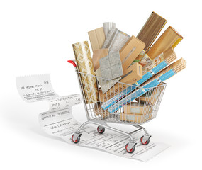 Poster Different floor coating materials type in the shopping cart. 3d illustration