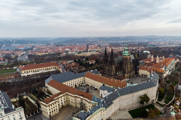 Aerial drone view Prague Castle and Saint Vitus Cathedral Panoramic view, Czech Republic. Vltava river