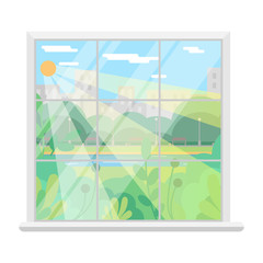 Isolated Vector image of a Window. Sunny day of summer. Window overlooking the park