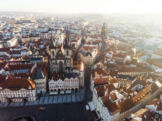 Aerial drone view Prague Old Town Square Czech Republic Church of Our Lady Before Tyn