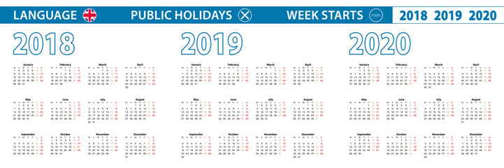 Simple calendar template in English for 2018, 2019, 2020 years. Week starts from Monday.