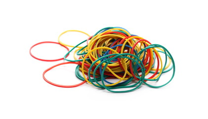 Colorful rubber bands isolated on white background