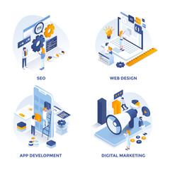 Modern Flat Isometric designed concept icons for Seo, Web Design, Apps Development and Digital Marketing. Can be used for Web Project and Applications. Vector Illustration