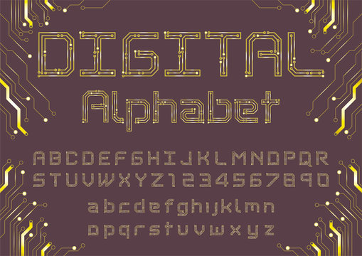 Digital Circuit board Alphabet design