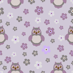 Vector seamless texture with cute owls.